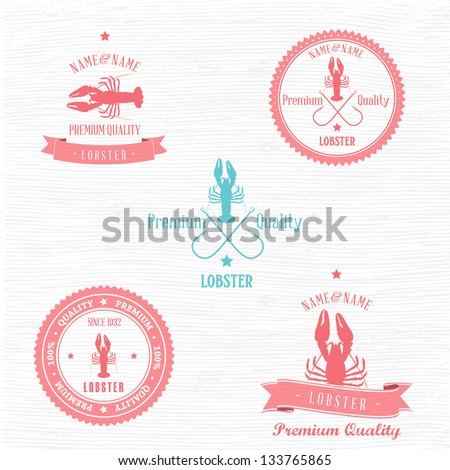 Vintage Lobster Badge set | Editable EPS vector illustration - stock vector