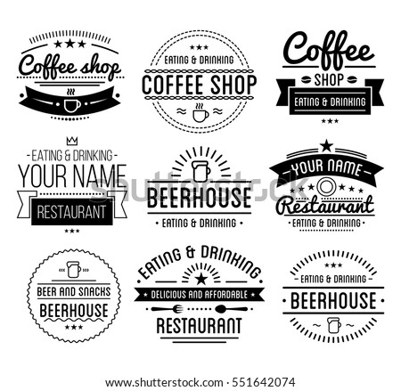 vintage logo coffee shop template restaurant stock vector