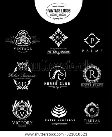 Vintage logo collection,Fashion brand,Royal logo,beauty logo,boutique hotel logo,logo set,horse logo,Vector Logo template - stock vector
