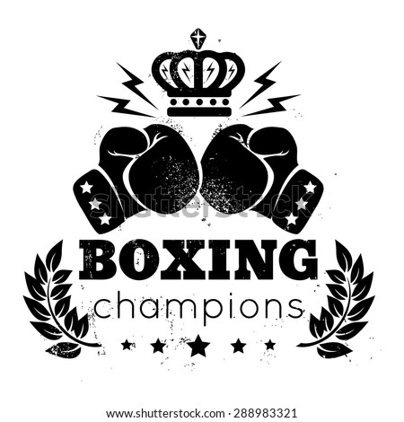 Vintage logo for a boxing with gloves and crown - stock vector