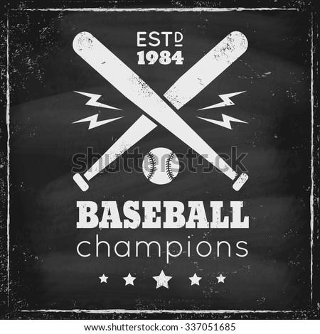 Vintage logo for baseball on chalkboard - stock vector