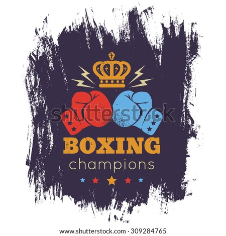 Vintage logo for boxing with gloves and crown - stock vector