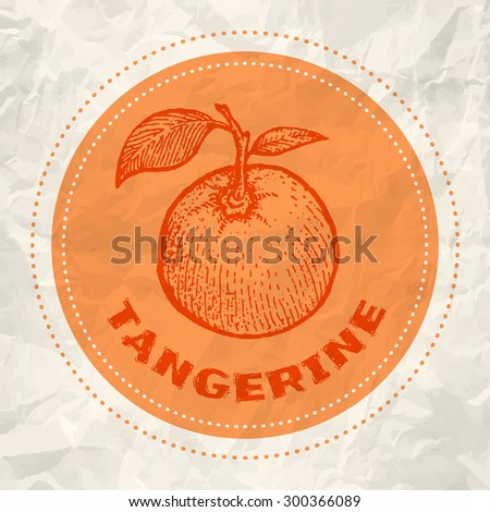 Vintage logo of tangerine on crumpled white paper - stock vector