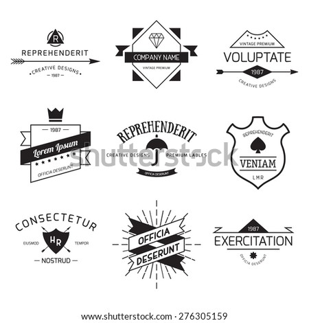 Vintage Logo set, retro design elements, business signs template, logos, identity, labels, badges and objects. - stock vector