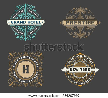 vintage logo template, Hotel, Restaurant, Business or Boutique Identity. Design with Flourishes Elegant Design Elements. Royalty, Heraldic style .Vector Illustration  - stock vector