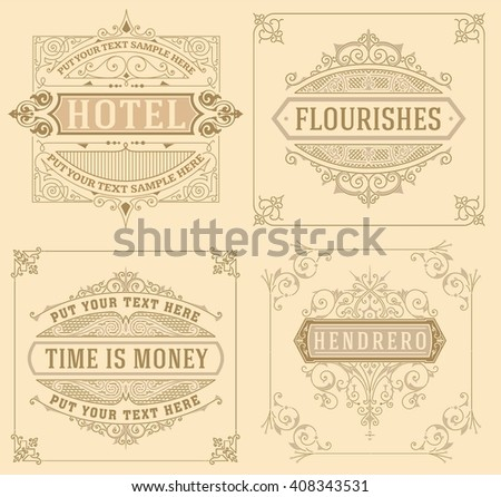 Vintage logo templates with Flourishes Elegant Design Elements - stock vector