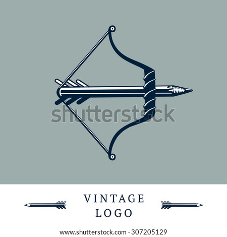 Vintage logo with a bow and a pencil without arrow. Message concept. Vector design.