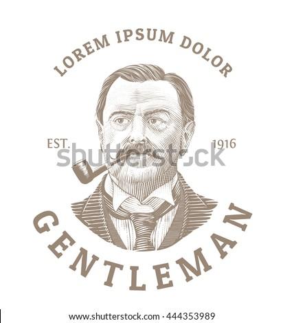 Vintage logo with bold man smoking a pipe. Elegant gentleman logo in vintage etching style. - stock vector