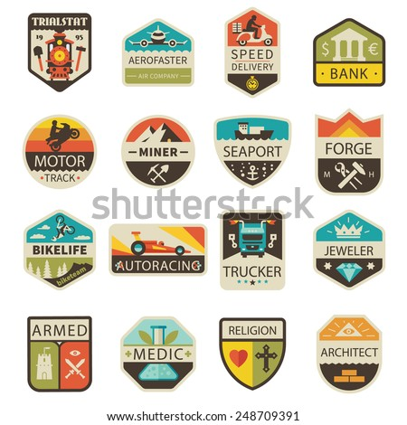 Vintage logos and badges. Professions and Transportation. Vector flat  logo set - stock vector