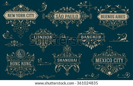 Vintage logos and elements. vector template. - stock vector
