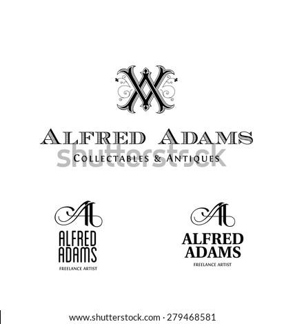 Vintage Logos based on AA Monogram - stock vector