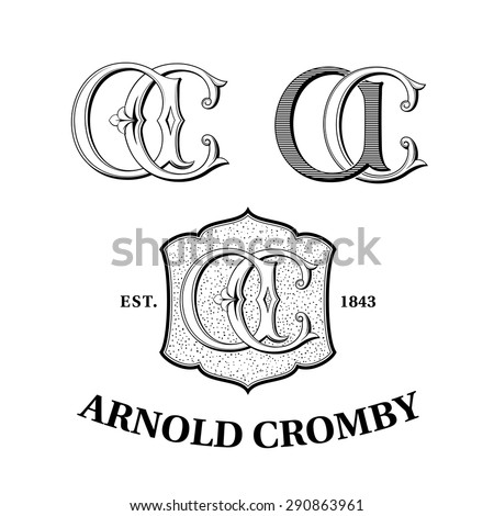 Vintage Logos based on AC Monogram - stock vector