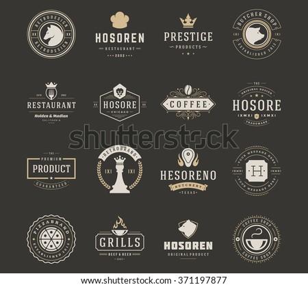 Vintage Logos Design Templates Set Vector Stock Vector 371197877 ...