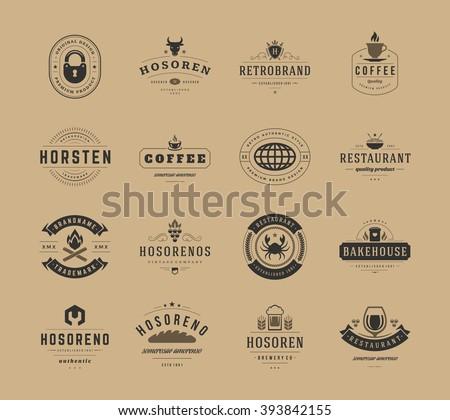 Vintage Logos Design Templates Set, Vector Design Elements. Logo Elements, Logo symbols, Logo Icons, Logos Vector, Symbols Design, Retro Logos. Cow Head Logo, Coffee Label, Ornaments Line, Lock Icon. - stock vector