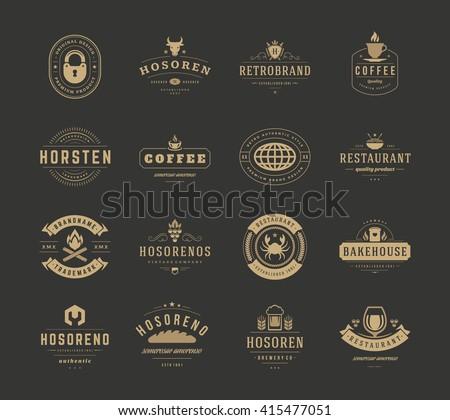 Vintage Logos Design Templates Set Vector Stock Photo (Photo, Vector ...