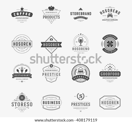 Vintage Logos Design Templates Set. Vector logotypes elements collection, Icons Symbols, Retro Labels, Badges, Silhouettes. - stock vector