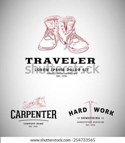 Vintage Logos with Tools and Shoes - stock vector