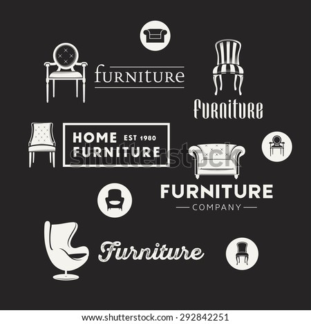 Vintage logotypes for furniture shop, vector Illustrations, badges and icons. - stock vector