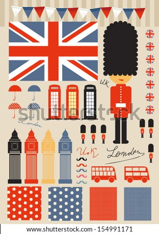 Vintage london symbols and landmarks - stock vector