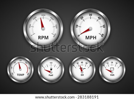 Vintage look silver gauge set for dashboard of expensive retro boat, yacht or car. Vector iilustration - stock vector