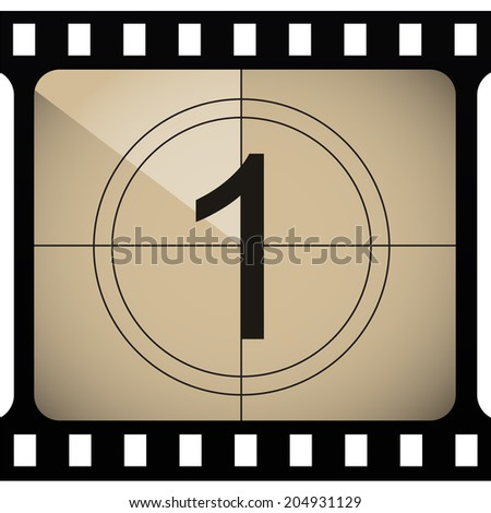 Vintage looking countdown number. VECTOR illustration. - stock vector