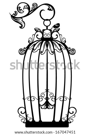 Vintage looking open birdcage with a free bird - black and white decorative outline - stock vector