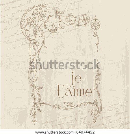 Vintage Love Postcard  - for design, invitation, congratulation, scrapbook - stock vector