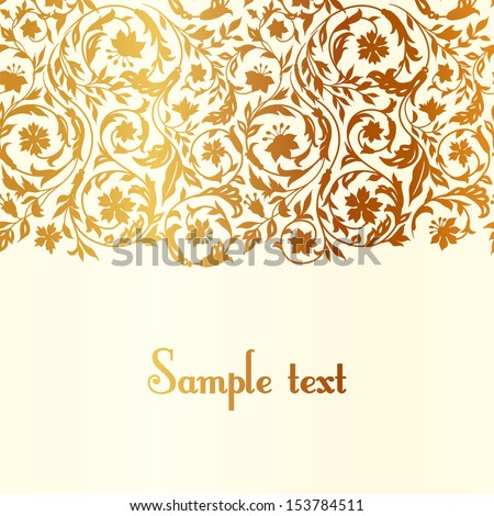 Vintage luxury beige with gold Floral background with stylized wildflowers