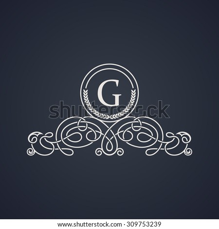 Vintage luxury emblem. Elegant Calligraphic pattern on vector logo. Black and white monogram G - stock vector