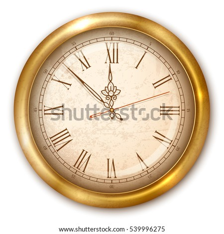 vintage luxury golden wall clock with roman numbers isolated on white background vector