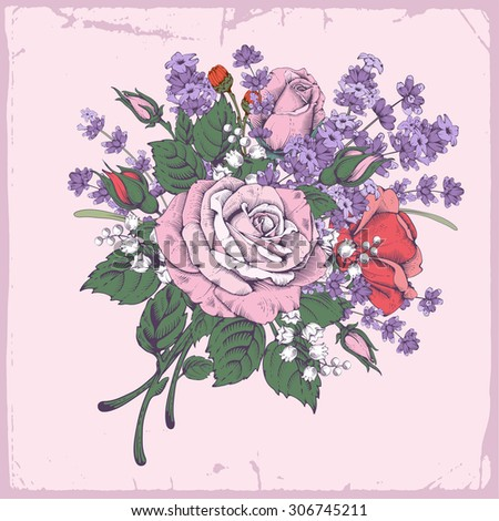 Vintage luxury greeting card with detailed hand drawn flowers - blooming rose and lavender. Background in retro engraving style with space for your text. Vector. Easy to edit. - stock vector