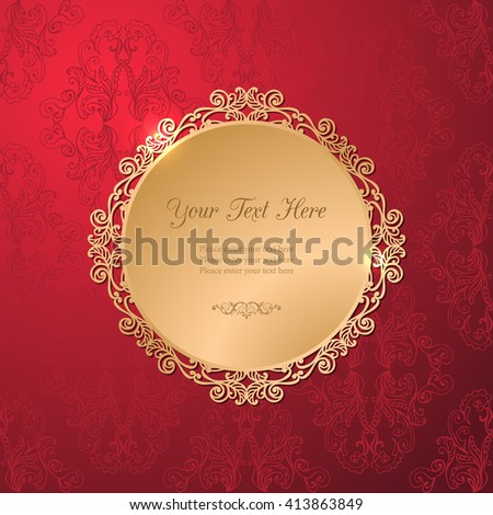 Vintage luxury vector background. Golden decorated filigree frame on red damask pattern. Template for your design. EPS 10 - stock vector