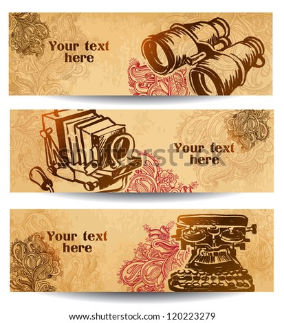 Vintage machinery vector banners. illustration drawn by hand - stock vector