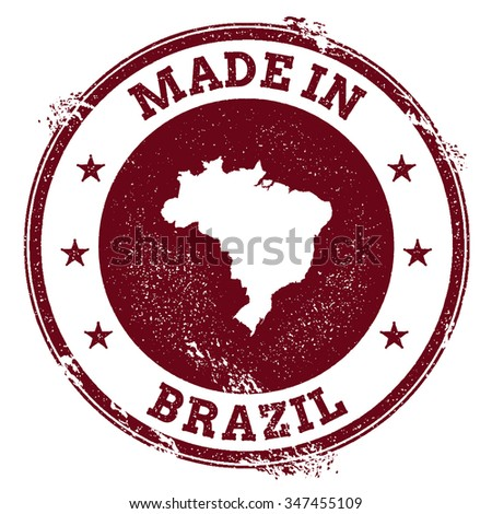 Vintage Made in Brazil stamp. Grunge rubber stamp with Made in Brazil text and country map, vector illustration - stock vector