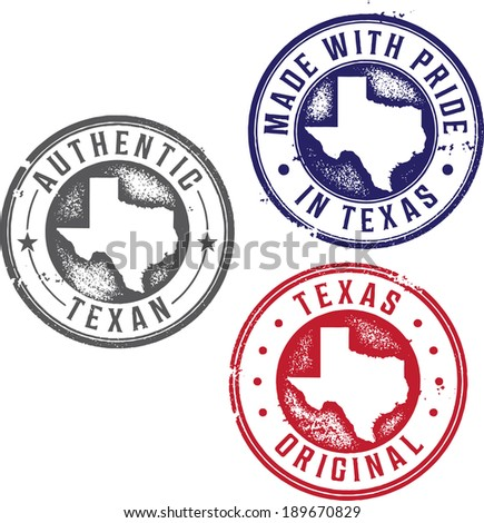 Vintage Made in Texas State Pride Stamps - stock vector