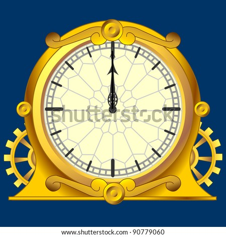 vintage magic victorian gold clock with gears - stock vector