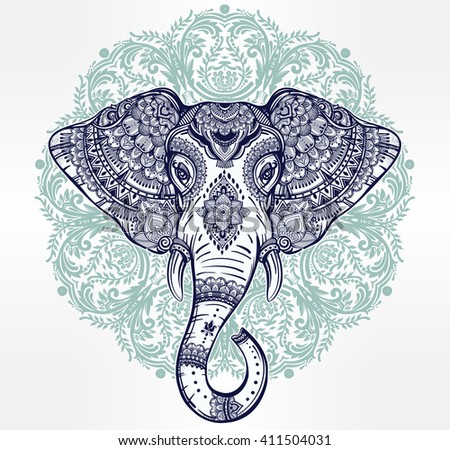 Vintage mandala vector ethnic elephant with tribal ornaments. Ideal ethnic background, tattoo art, yoga, African, Indian, Thai, spirituality, boho design. Use for print, posters, t-shirts, textiles. - stock vector