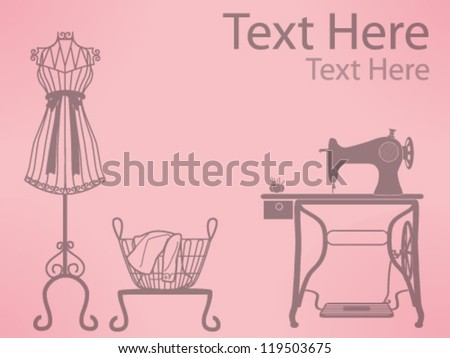 Sewing Vector Free Download Vintage mannequin and sewing