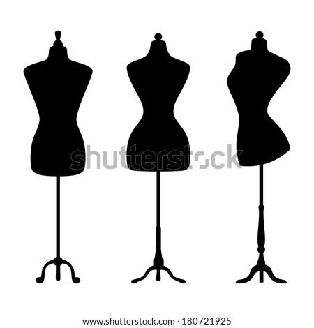 Vintage mannequins - stock vector