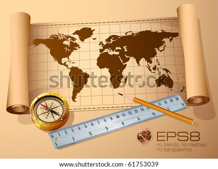 Vintage  map, golden compass steel ruler and pencil. Vector travel and discovery abstract. - stock vector