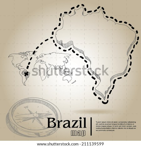 vintage map of Brazil - stock vector