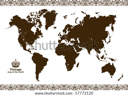 Vintage map of the world frame. Vector illustration - stock vector