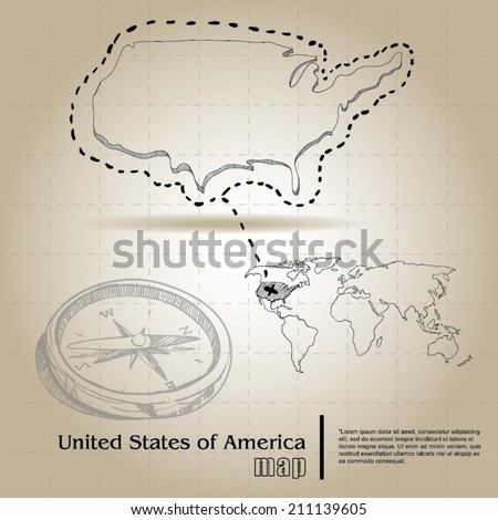 vintage map of United States of Armerica - stock vector