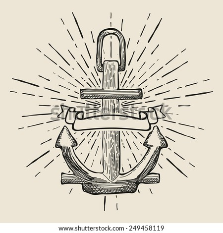 Vintage Marine Anchor isolated engrave. Vector illustration - stock vector