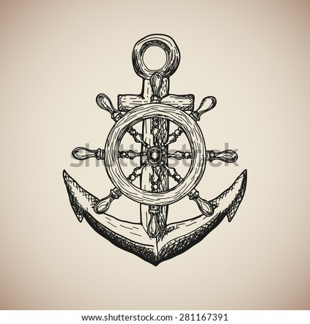 Vintage Marine Anchor with Steering Wheel isolated engrave. Vector illustration - stock vector
