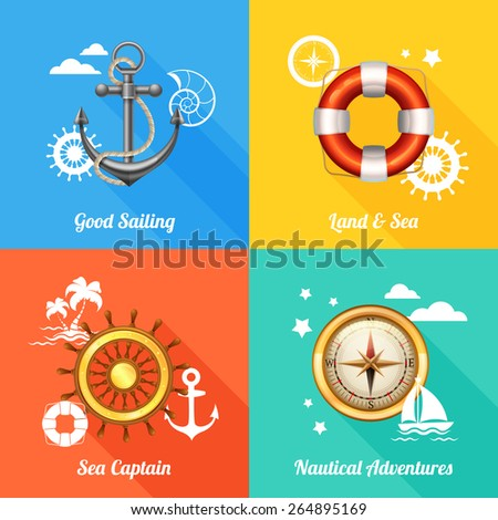 Vintage marine nautical concept 4 flat icons composition with anchor compass and steering wheel abstract vector illustration - stock vector