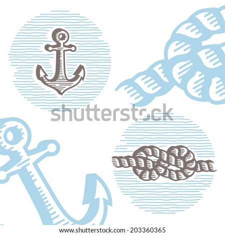 Vintage marine symbols vector icon set: engraving anchor and knot. Collection of retro style sea signs.  - stock vector
