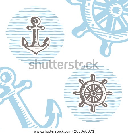 Vintage marine symbols vector icon set: engraving anchor and wheel. Collection of retro style sea signs.