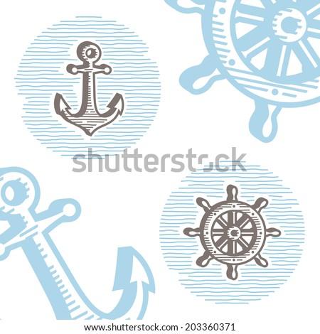 Vintage marine symbols vector icon set: engraving anchor and wheel. Collection of retro style sea signs.  - stock vector