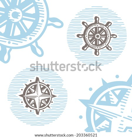 Vintage marine symbols vector icon set: engraving wheel and wind rose. Collection of retro style sea signs.